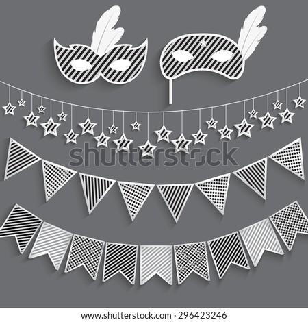 Set of carnival bunting and masks, black and white, Vector EPS 10. - stock vector