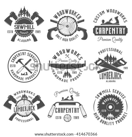 woodworking logo ideas. set of carpentry, woodworkers, lumberjack, sawmill service monochrome vector labels, emblems and woodworking logo ideas o