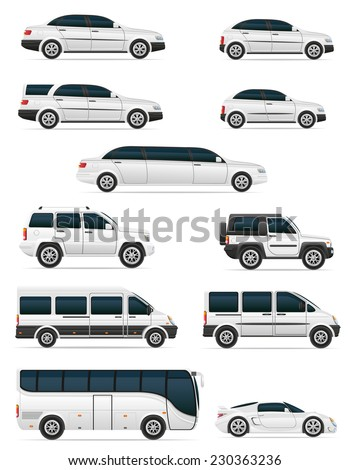 set of cars for the transportation passengers vector illustration isolated on white background - stock vector