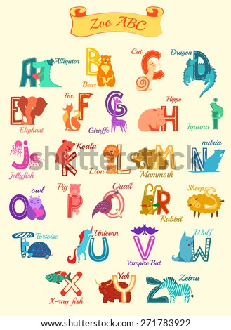 Set of cartoon alphabet characters with cute animals - stock vector