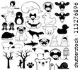 Set of cartoon animal icons with birds fish reptiles wildlife pets - stock vector