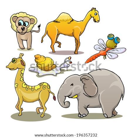 set of cartoon animal isolated on white - stock vector