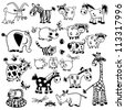 set of cartoon animals,black and white vector pictures,children illustration,collection of images for babies and little kids - stock vector