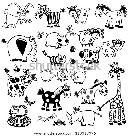 set of cartoon animals,black and white vector pictures,children illustration,collection of images for babies and little kids