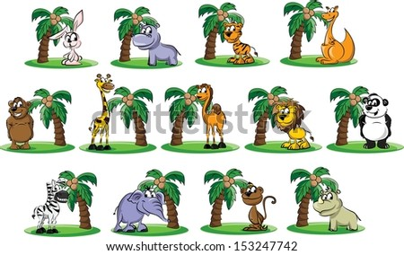 Set of cartoon animals - vector - stock vector