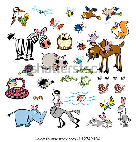 set of cartoon animals,vector pictures isolated on white background,children illustration for babies and little kids - stock vector