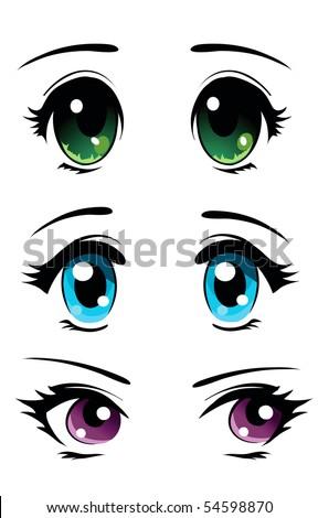 Set of cartoon anime eyes - stock vector