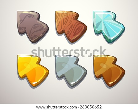 Set of cartoon arrows. Stone, wooden, crystal, gold, silver, bronze cursors - stock vector