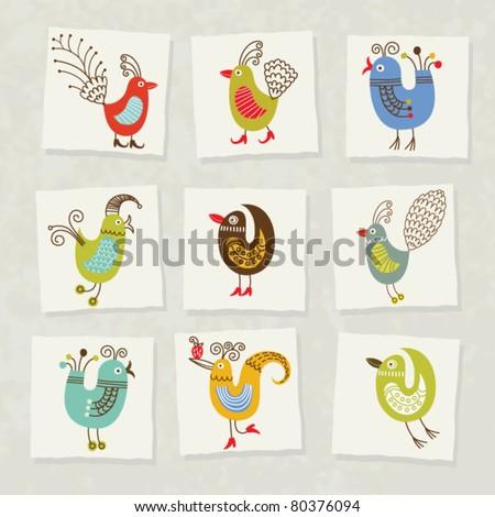 set of cartoon birds - stock vector
