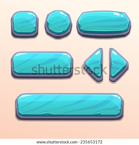 Set of cartoon blue stone buttons, bright vector ui elements - stock vector