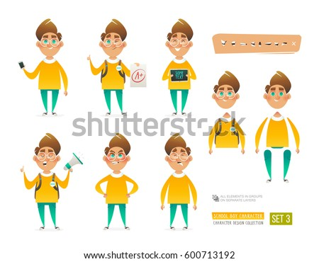 Set of Cartoon Boy Character for your scenes design and animation. Pupil character in different poses isolated on white background. Schoolboy holding phone, tablet, bullhorn