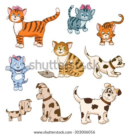 set of cartoon cats and dogs. vector illustration - stock vector