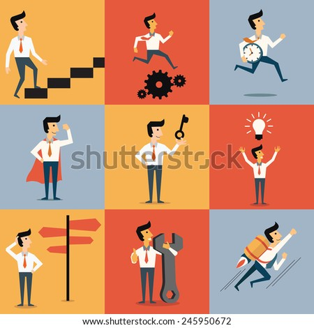 Set of cartoon character of businessman with object in many business concept. Abstract illustration, flat design.   - stock vector