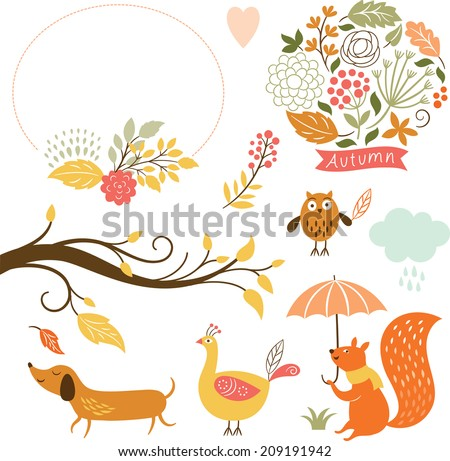 set of cartoon characters and autumn elements  - stock vector