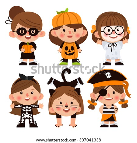 Set of cartoon characters for Halloween. Children dressed in costumes for Halloween. Girls in  sc 1 st  Shutterstock & Set Cartoon Characters Halloween Children Dressed Stock Vector ...