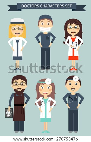 Set of cartoon characters in flat design. Vector illustration of a smiling doctors - stock vector