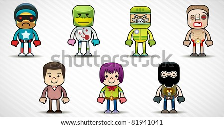 Set of cartoon characters  occupations - stock vector