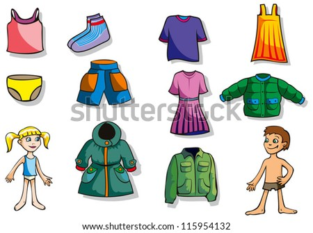 Set of cartoon clothes for girl and boy, vector illustration - stock vector