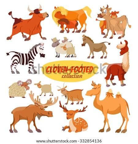 Set of cartoon clowen-footed animals:bull,horse,cow,zebra,sheep,donkey,lama,goat,camel,moose,deer.Icon set isolated on white background - stock vector