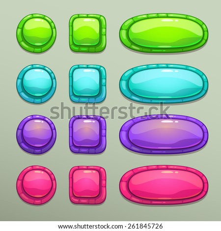 Set of cartoon colorful buttons on gray background, vector ui elements