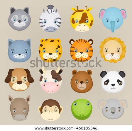 set of cartoon cute animal faces. vector illustration