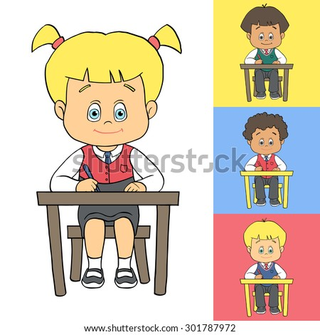 Set of cartoon cute boys and girls in school uniform at school/preschool/kindergarten. School children sitting at desk/table and writing/drawing. Outline vector clip art eps 10 illustration. - stock vector
