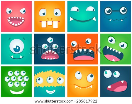 Set of cartoon cute character Monsters. Vector flat illustration. - stock vector