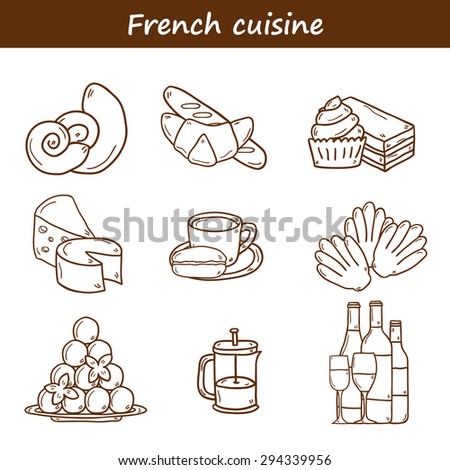 Set of cartoon cute hand drawn outline icons on french cuisine theme: cheese, wine, macaroon, criossant, pastry. Ethnic travel concept. Great for restaurant menu or food site and app