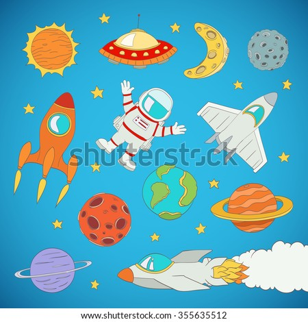 set of cartoon cute outer space planets, rockets. vector illustration