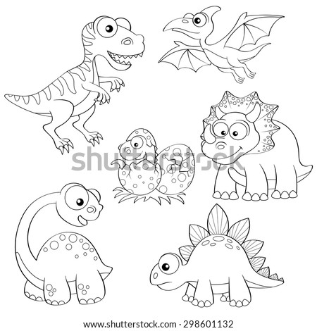Set Of Cartoon Dinosaurs Cute Dino Black And White Vector Illustration For Coloring Book