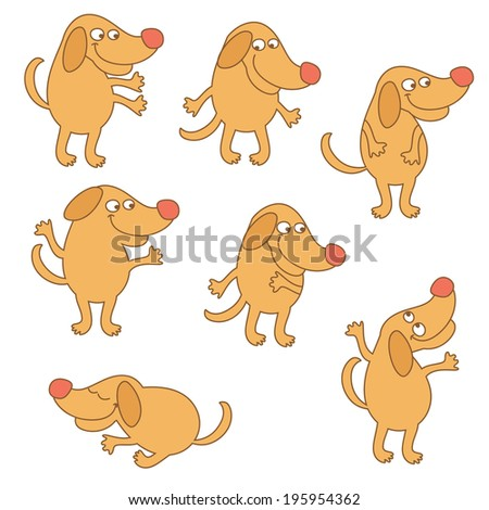 Set of cartoon dogs - stock vector