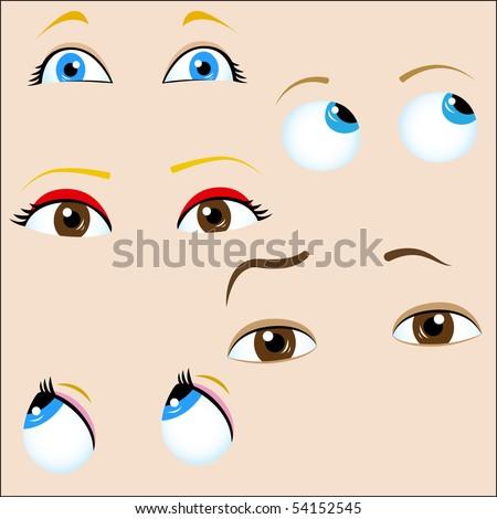 Set of 5 cartoon eyes. Editable Vector Illustration - stock vector