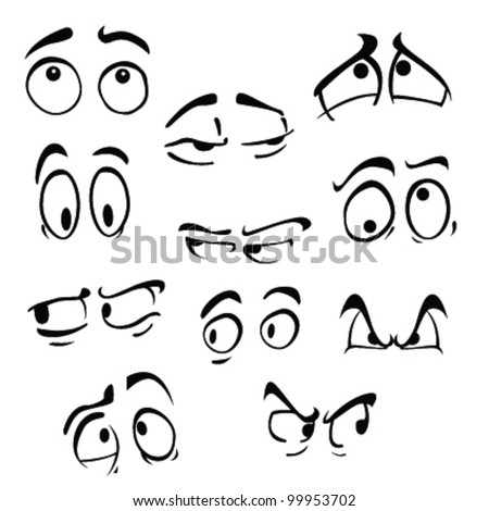 set of cartoon eyes on white background