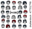 Set of cartoon faces - stock vector