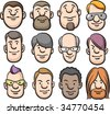Set of 12 cartoon faces. Easy to edit and transform: Easy to edit and transform: line art and colors placed in different layers. - stock vector