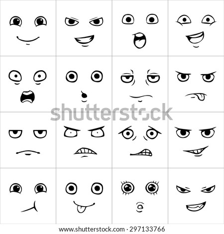 Set of cartoon faces with various emotions - stock vector