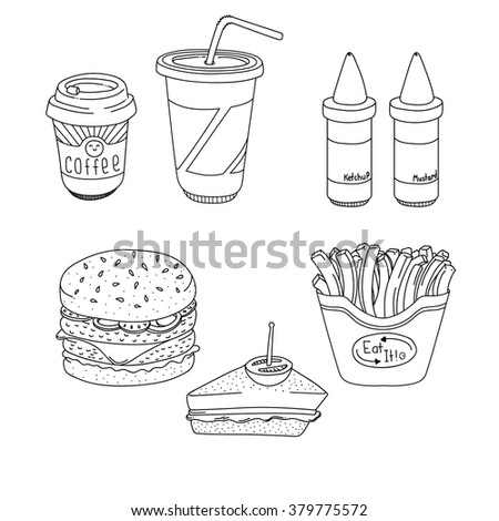 Set of cartoon fast-food meal lineart
