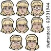 Set of cartoon female's faces with emotional expressions - stock vector