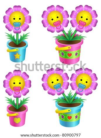 Set of cartoon flowers in a flowerpot - stock vector