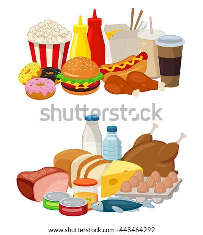 Set of cartoon food and drinks for restaurant or commercial. Fast food icons. Food and Drinks icons. Vector illustration - stock vector