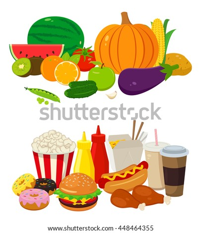 cartoon drinks commercial restaurant vector shutterstock fast vegetables display