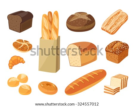 Set of cartoon food: bread - rye bread, ciabatta, wheat bread, whole grain bread, bagel, sliced bread, french baguette, croissant and so. Vector illustration, isolated on white, eps 10. - stock vector