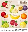 Set of cartoon food icons. Fruits. Red apple, pear, violet plum, red plum, banana, orange, grape, pomegranate, lemon - stock vector