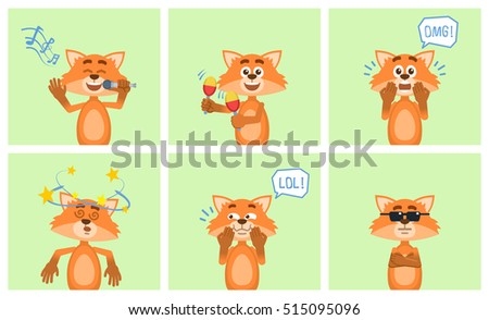 Set of cartoon fox characters posing in different situations. Cheerful fox karaoke singing, dancing, surprised, laughing, serious, feeling dizzy. Flat vector illustration