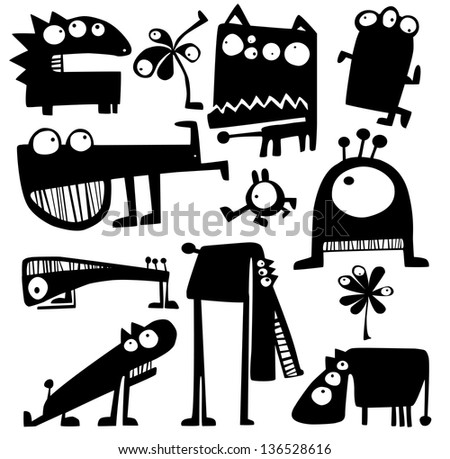 Set of cartoon funny monsters - stock vector