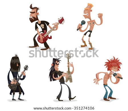 set of cartoon funny rock musicians. They playing on their music instruments, singing the songs and looking very brutal an angry. vector illustrations - stock vector