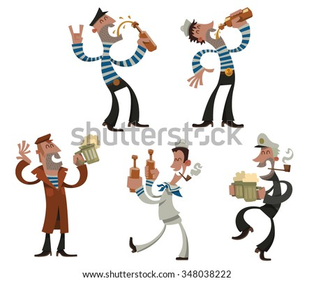 Set of cartoon funny sailors with alcohol, They drinking beer, dancing and having fun, vector - stock vector