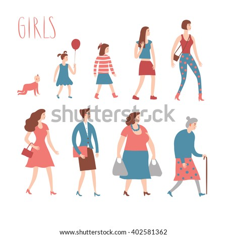 Set of cartoon girls in various lifestyles and ages. Including baby, child, teenager, lady, senior,  businesswoman. Characters illustrations for your design. - stock vector