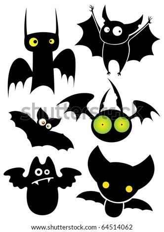Set of cartoon Halloween black bats. Vector illustration. - stock vector