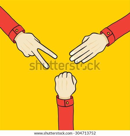 set of cartoon hands various gestures - stock vector